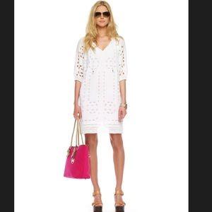 MICHAEL Michael Kors Eyelet Peasant Dress, White